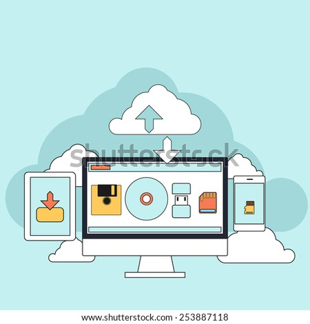 Cloud services concept. Set of flat design concept icons for mobile phone services and apps. Icons for web design, services and communication. Raster version - stock photo