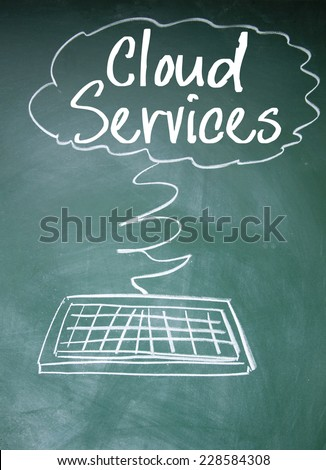 cloud services sign on blackboard - stock photo