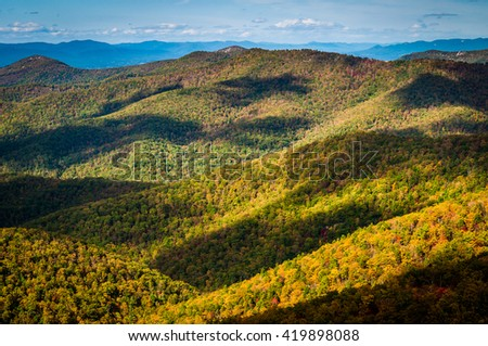 Cloud shadows on the Blue Ridge, seen from Blackrock Summit, along the Appalachian Trail in Shenandoah National Park, Virginia. - stock photo