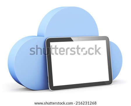 cloud shape speech bubble with tablet.