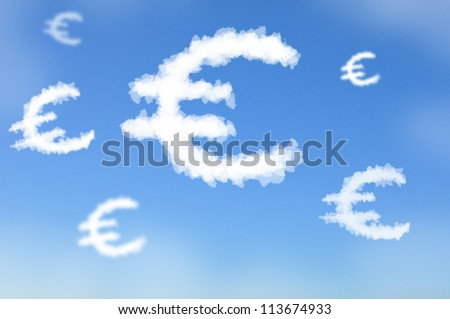 Cloud shaped as Euro currency sign, dreaming concept