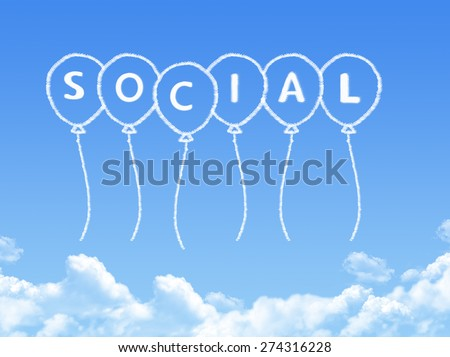 Cloud shaped as social Message - stock photo