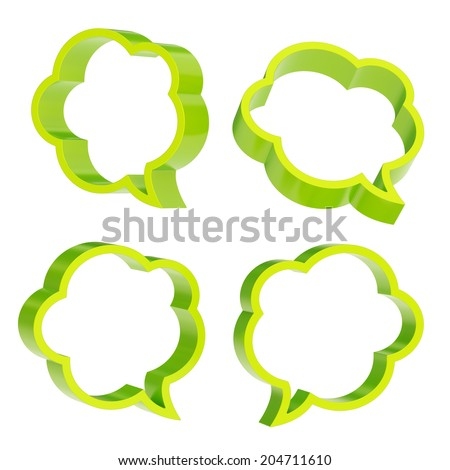 Cloud shaped green text bubble shapes isolated over the white background, set of four foreshortenings - stock photo