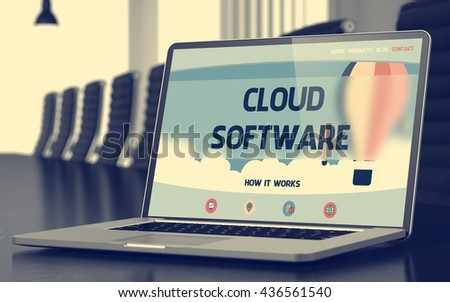 Cloud Software - Landing Page with Inscription on Laptop Screen on Background of Comfortable Conference Hall in Modern Office. Closeup View. Toned Image. Selective Focus. 3D Illustration. - stock photo