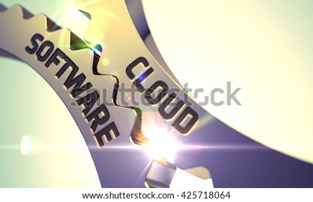 Cloud Software - Technical Design. Cloud Software on the Mechanism of Golden Cog Gears with Lens Flare. Golden Cogwheels with Cloud Software Concept. 3D. - stock photo