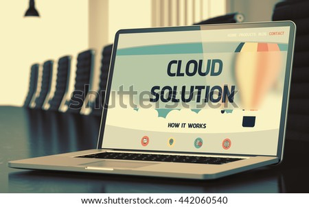 Cloud Solution - Landing Page with Inscription on Laptop Display on Background of Comfortable Meeting Hall in Modern Office. Closeup View. Toned Image with Selective Focus. 3D. - stock photo