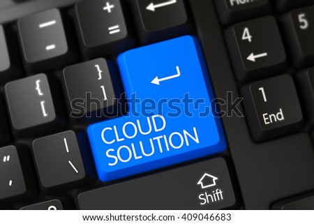Cloud Solution on Computer Keyboard Background. Cloud Solution Concept: Modern Keyboard with Cloud Solution on Blue Enter Button Background, Selected Focus. 3D Illustration.