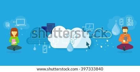 Cloud storage design flat concept. Storage and cloud, cloud computing, cloud backup, online storage, data storage, data, network, internet web storage, connection clouds storage illustration - stock photo