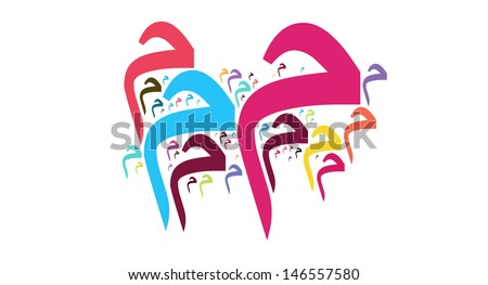 cloud style of arabic alphabet called MIM - stock photo