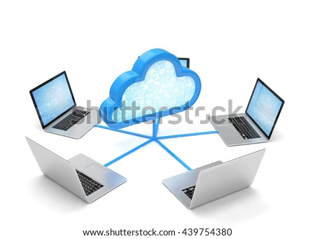 cloud symbol and laptops. 3d rendering. - stock photo