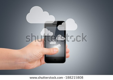 Cloud sync concept, hand holding smart phone with icons.