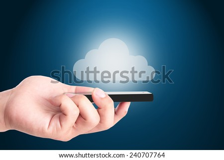 Cloud system for keep your data concept with your smart phone.
