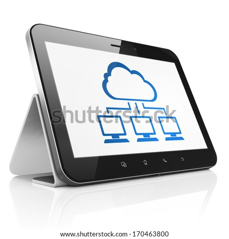 Cloud technology concept: black tablet pc computer with Cloud Network icon on display. Modern portable touch pad on White background, 3d render - stock photo