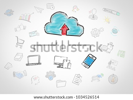 Cloud technology concept. Chart with keywords and icons on gray background