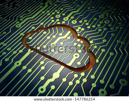 Cloud technology concept: circuit board with Cloud icon, 3d render - stock photo