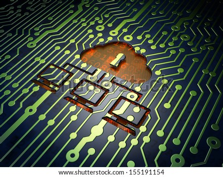 Cloud technology concept: circuit board with Cloud Network icon, 3d render