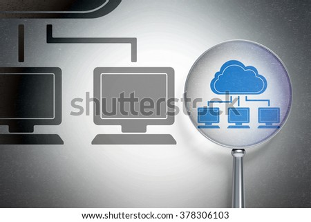Cloud technology concept:  Cloud Network with optical glass on digital background