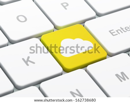Cloud technology concept: computer keyboard with Cloud icon on enter button background, selected focus, 3d render