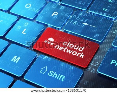 Cloud technology concept: computer keyboard with Cloud Network icon and word Cloud Network on enter button background, 3d render - stock photo