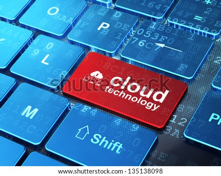 Cloud technology concept: computer keyboard with Cloud Network icon and word Cloud Technology on enter button background, 3d render - stock photo