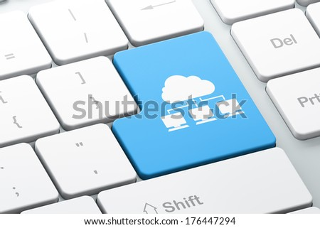 Cloud technology concept: Enter button with Cloud Network on computer keyboard background, 3d render - stock photo