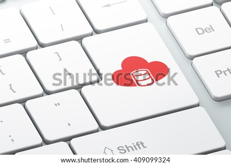 Cloud technology concept: Enter button with Database With Cloud on computer keyboard background, 3D rendering - stock photo