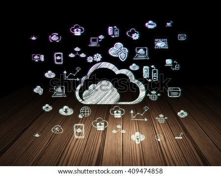 Cloud technology concept: Glowing Cloud icon in grunge dark room with Wooden Floor, black background with  Hand Drawn Cloud Technology Icons