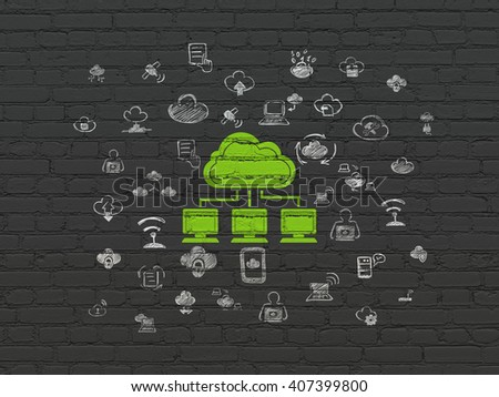 Cloud technology concept: Painted green Cloud Network icon on Black Brick wall background with  Hand Drawn Cloud Technology Icons