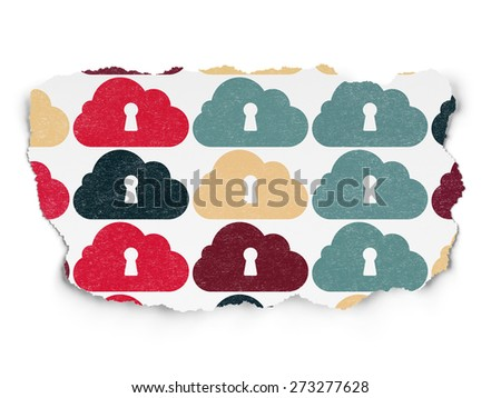 Cloud technology concept: Painted multicolor Cloud With Keyhole icons on Torn Paper background, 3d render