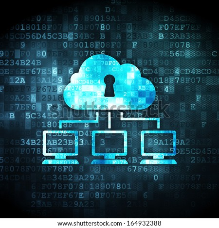 Cloud technology concept: pixelated Cloud Network icon on digital background, 3d render - stock photo