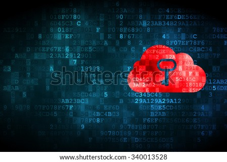 Cloud technology concept: pixelated Cloud With Key icon on digital background, empty copyspace for card, text, advertising - stock photo