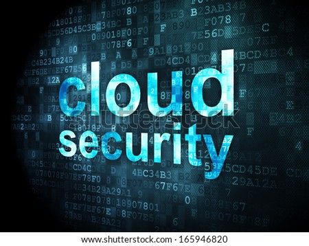 Cloud technology concept: pixelated words Cloud Security on digital background, 3d render