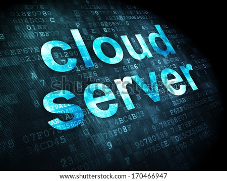 Cloud technology concept: pixelated words Cloud Server on digital background, 3d render