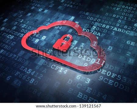 Cloud technology concept: Red Cloud Whis Padlock on digital background, 3d render