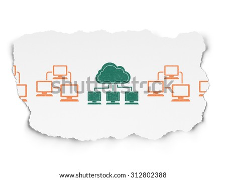 Cloud technology concept: row of Painted orange lan computer network icons around green cloud network icon on Torn Paper background - stock photo