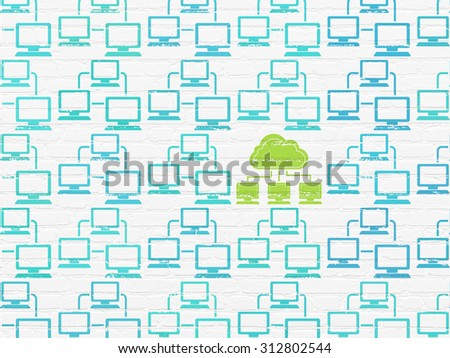 Cloud technology concept: rows of Painted blue lan computer network icons around green cloud network icon on White Brick wall background - stock photo