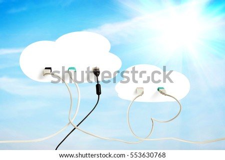 Cloud technology. Conceptual image about modern data storage and information exchange
