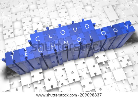 Cloud Technology - puzzle 3d render illustration with block letters on blue jigsaw pieces
