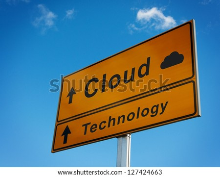 Cloud technology road sign. Concept of cloud storage.