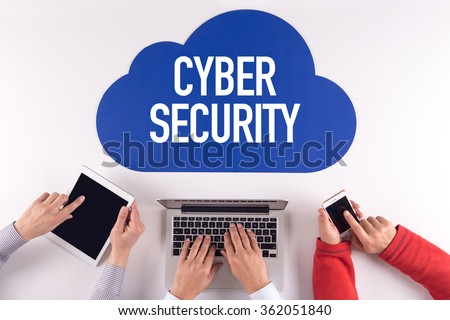 Cloud technology with a word CYBER SECURITY - stock photo