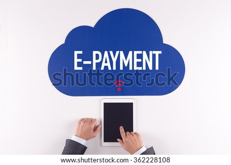 Cloud technology with a word E-PAYMENT - stock photo