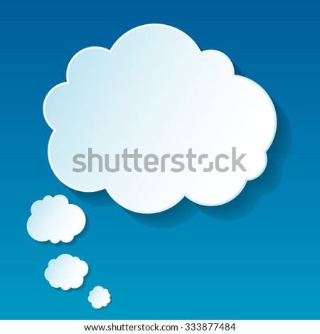 Cloud thoughts in unique style on blue background - stock photo