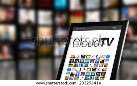 Cloud TV concept, tablet with many icons and LCD panels - stock photo