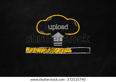Cloud upload progress bar with copyspace. Uploading data concept with a progress bar on a blackboard. Hand drawn cloud with symbol and text indicating upload - stock photo