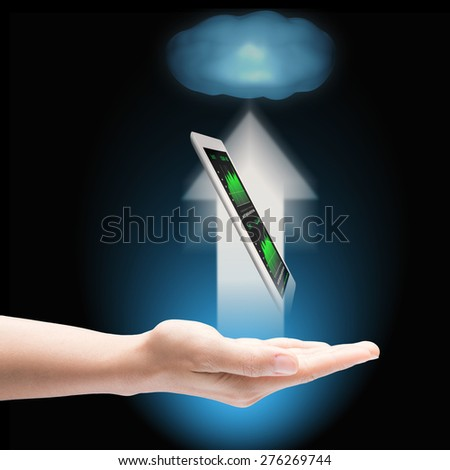 cloud upload with device in hand - stock photo