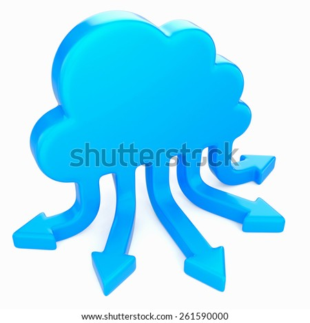 cloud with arrows on white background - stock photo