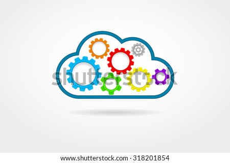 cloud with gears icon - stock photo