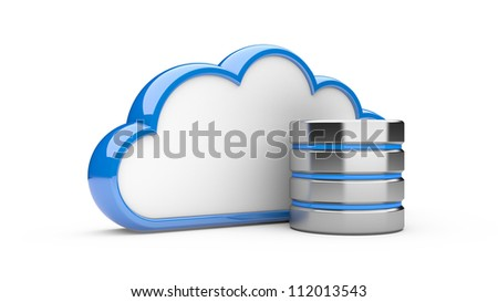cloud with hdd on a white background. 3d illustration database concept