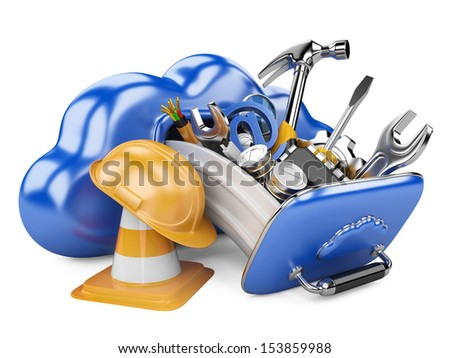 Cloud with tools. Recovery concept.  3D illuistration isolated on white background - stock photo