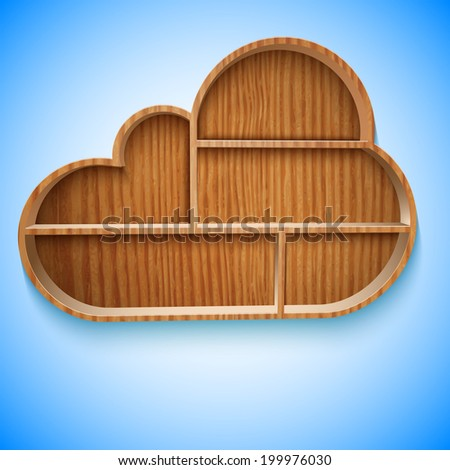 Cloud wood shelves and shelf design on wall,  illustration. - stock photo